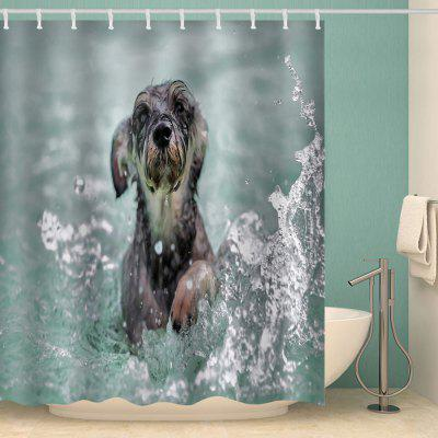 Leisure Playing Water Dog Cute Animal Print Waterproof Shower Curtain