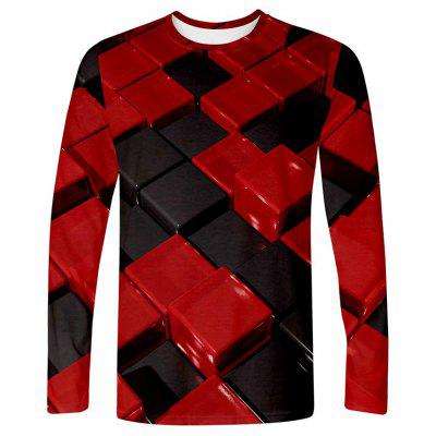 Men's T-shirt 3D Creative Square Print Long Sleeve