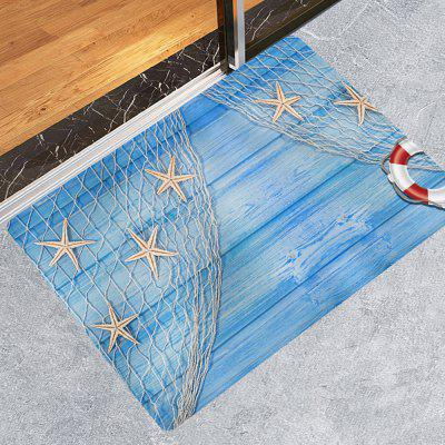 Wooden Board Fishing Net Starfish Print Carpet