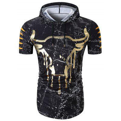 Men's T-shirt National Wind Head Print Fashion Hooded Short-sleeved