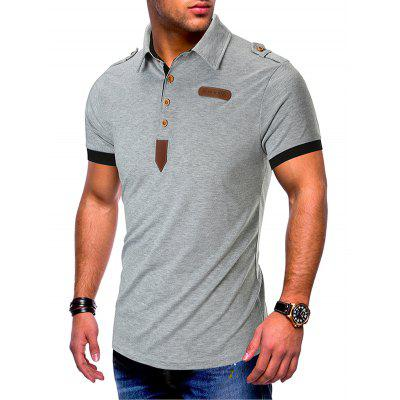 Men's T-shirt Solid Color Leather Button Design Lapel Short-sleeved