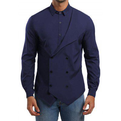Men's Shirt Personality Double-breasted Fake Two-piece Long-sleeved