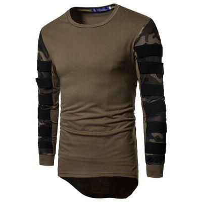 Men's T-shirt Stretch Cotton Camouflage Mesh Stitching Hollow Sleeve Long-sleeved