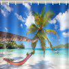 Tropical Beach Sea Coconut Tree Printed Waterproof Shower Curtain - DODGER BLUE