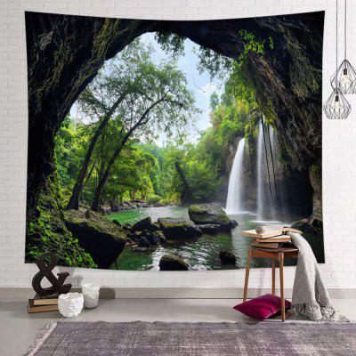 Green Cave Forest Waterfall Printed Tapestry