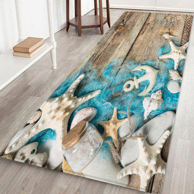 Starfish Wooden Fishing Net Print Carpet