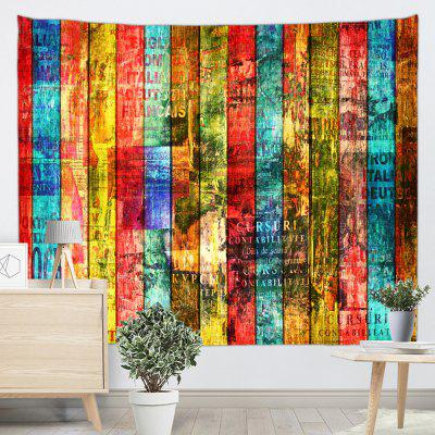 Color Vintage Wooden Board Printed Tapestry
