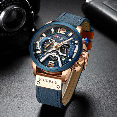 CURREN 8329 Fashion Men Waterproof Watch Six-pin Multi-function Large Dial