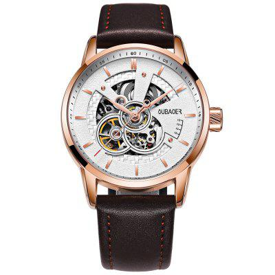 OUBAOER OB2001 Men Automatic Hollow Mechanical Watch Fashion Waterproof Leather Casual Style