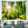Forest Sunlight Trunk Plant Print Tapestry - GREEN ONION
