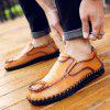 Men's Leather Shoes Hand Stitching Fashion - SANDY BROWN