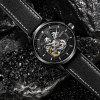 OUBAOER OB2001 Men Automatic Hollow Mechanical Watch Fashion Waterproof Leather Casual Style - BLACK