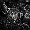 OUBAOER OB2001 Men Automatic Hollow Mechanical Watch Fashion Waterproof Leather Casual Style - MULTI-C
