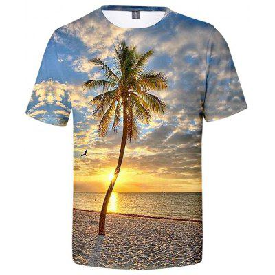 Heren T-shirt Creative 3D Creative Beach Tree Print korte mouw