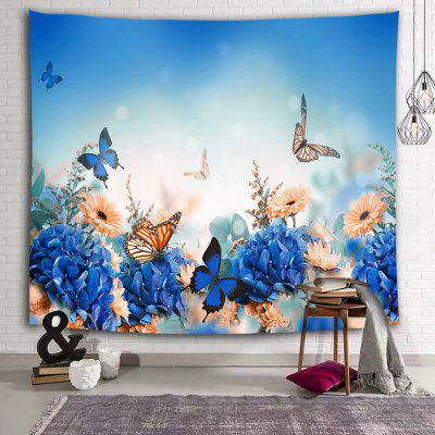 Flying Butterfly Purple Hydrangea Print Polyester Sanded Tapestry