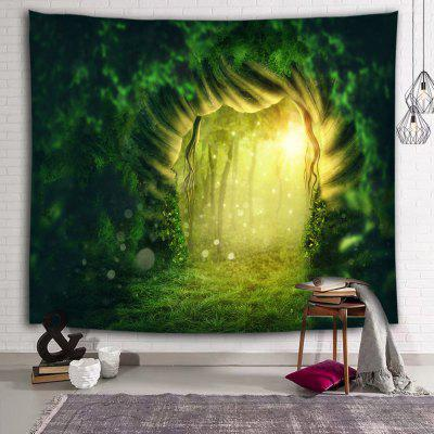 Green Tree Hole Fluorescent Print Polyester Sanding Tapestry