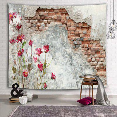 Broken Wall Red Flowers Village Printed Polyester Brushed Tapestry