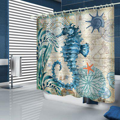 Retro Style Hippocampus Conch Printed Shower Curtain