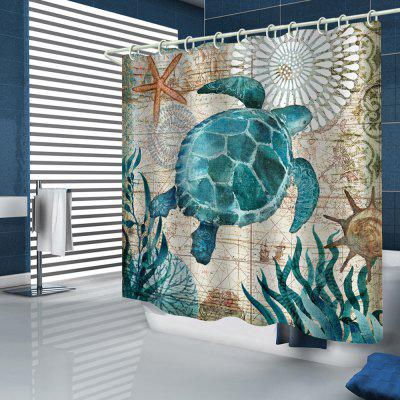 Retro Style Beach Starfish Seaweed Big Turtle Printed Shower Curtain