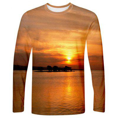 Men's T-shirt Creative 3D Beach Sunset Print Long Sleeve