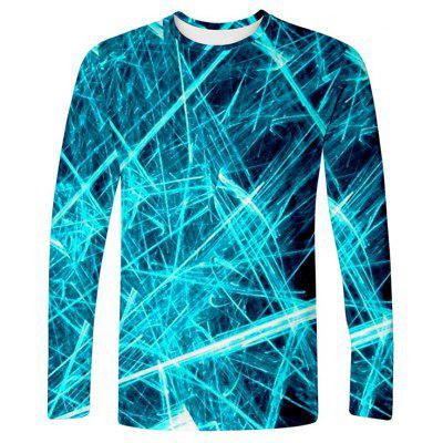 Men's T-shirt Creative 3D Laser Line Print Long-sleeved