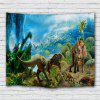Dinosaur Group Jurassic Animal Printed Polyester Sanding Tapestry - BLUE IVY