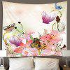 Flowers Butterfly Hand-painted Print Polyester Sanded Tapestry - ORANGE PINK