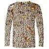 Men's T-shirt Creative 3D Cheetah Print Long Sleeve - LEOPARD