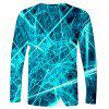 Men's T-shirt Creative 3D Laser Line Print Long-sleeved - MEDIUM TURQUOISE