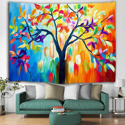 Colorful Oil Painting Tree Autumn Print Polyester Sanded Tapestry