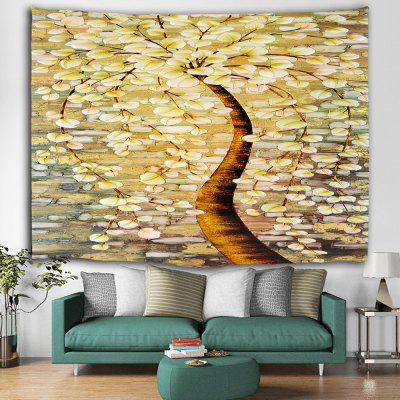 Yellow Ginkgo Autumn Print Polyester Brushed Tapestry