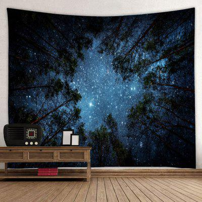 Starry Night Sky Woods Print Polyester Sanded Tapestry