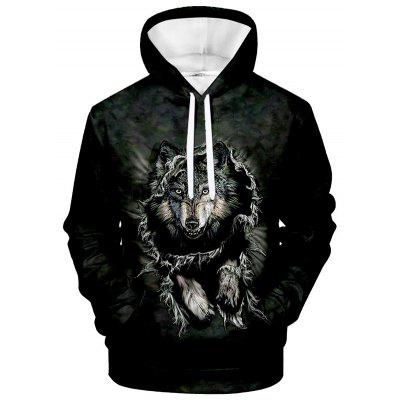 Men's Hoodie Creative 3D Wolf Print Long Sleeve Sweatshirt