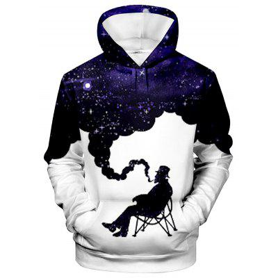 Men's Hoodie Creative 3D Old Man Blowing Smoke Print Long Sleeve Sweatshirt