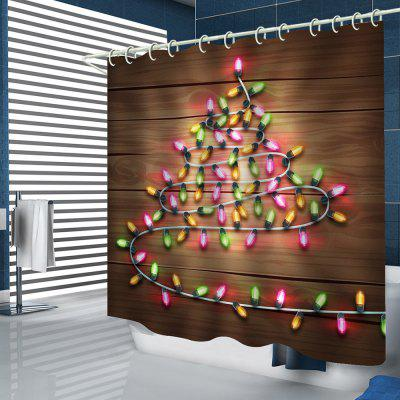 Small Lights Wooden Board Design Pattern Printed Shower Curtain Durable