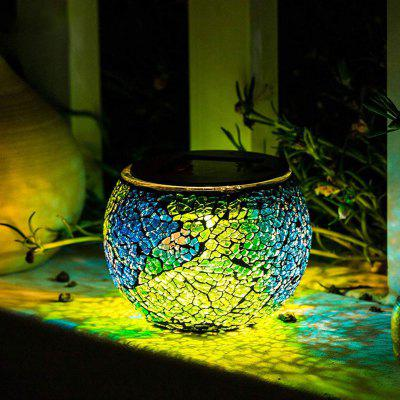 Solar Glass Table Mosaic Lamp Waterproof Night Light for Home / Garden / Courtyard Decoration