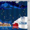 Midnight Santa Claus Gives Gift Pattern Printed Shower Curtain - COBALT BLUE
