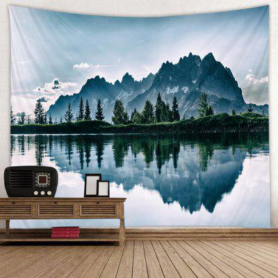 Trees Mountains Reflection Pattern Print Tapestry