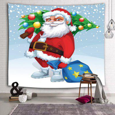Christmas Cartoon Santa Claus Tree Printed Polyester Brushed Tapestry
