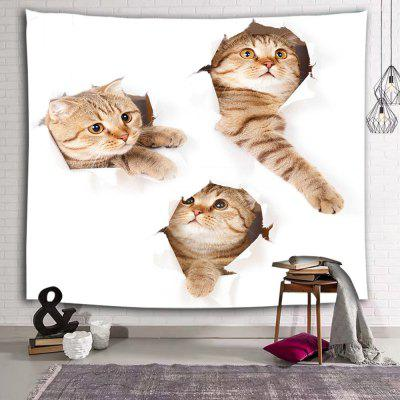 Cartoon Cat Cute Animal Print Polyester Sanded Tapestry