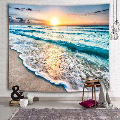 Blue Sea Beach Wave Sunrise Printing Polyester Tapestry
