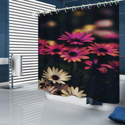 Beautiful Two-color Flower Sea Pattern Printing Shower Curtain
