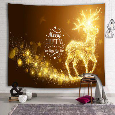 Christmas Eve Flash Elk Printed Polyester Brushed Tapestry