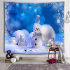Christmas Cute Snowman Snowflake Decorative Printed Polyester Sanded Tapestry - DODGER BLUE