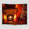 Christmas Tree Gift Stove Decoration Printing Polyester Tapestry - MAHOGANY