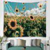 Pastoral Style Sunflower Field Landscape Print Tapestry - BABY BLUE