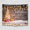 Wood Plate Christmas Tree Printed Polyester Sanded Tapestry - CAMEL BROWN