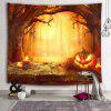 Halloween Horror Pumpkin Light Dry Tree Deco Print Tapestry - CHOCOLATE