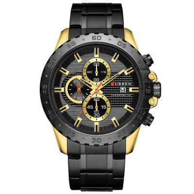 CURREN 8334 Men's Business Watch Three-eye Steel Belt Six-pin Waterproof Calendar