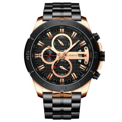 Curren 8337 Men's Quartz Watch Six-Pin Multifunction Calendar Steel Band